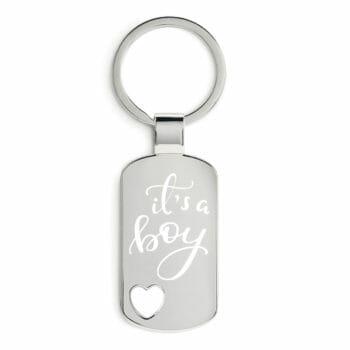 Schlüsselanhänger DogTag Herz zur Geburt its a boy
