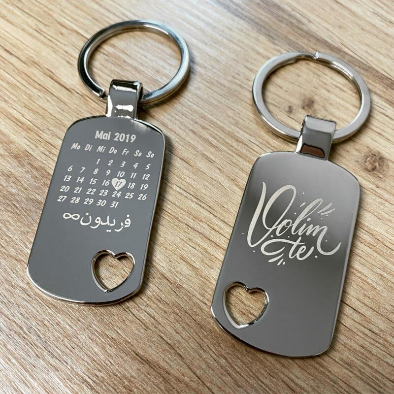 Schlüsselanhänger Volim te mit Kalender